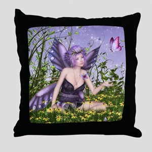 Purple Spring Fairy Throw Pillow