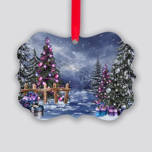 Christmas Landscape Picture Ornament