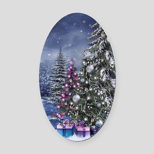 Christmas Landscape Oval Car Magnet