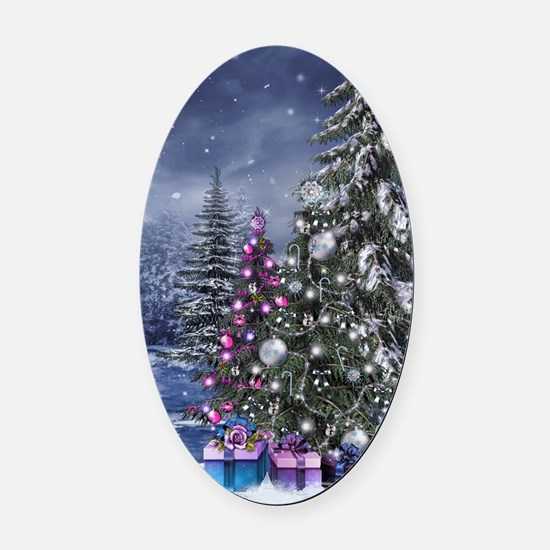 Christmas Landscape Oval Car Magnet
