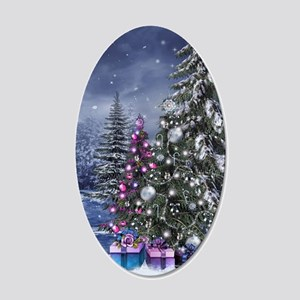 Christmas Landscape 20x12 Oval Wall Decal