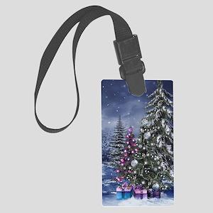 Christmas Landscape Large Luggage Tag