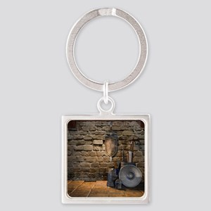 Medieval Weaponry Square Keychain