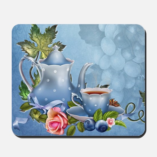 Blue Tea Party Mousepad