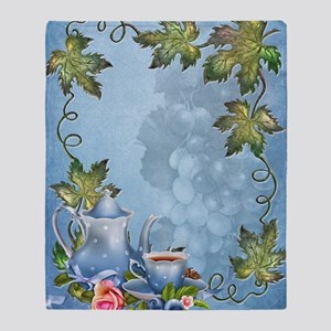 Blue Tea Party Throw Blanket