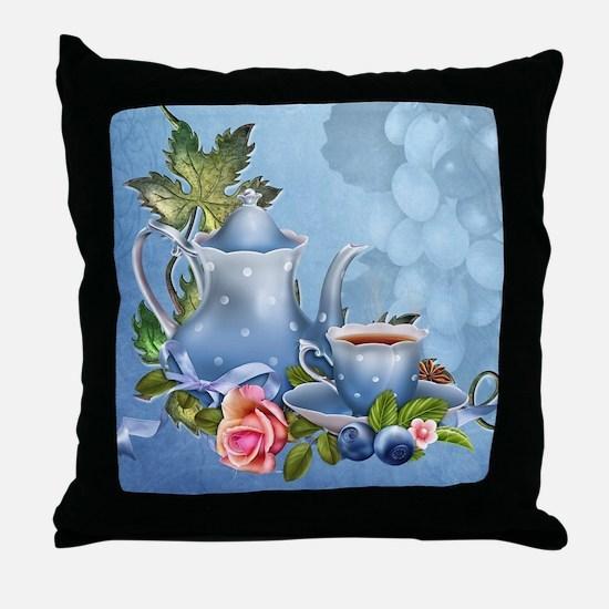 Blue Tea Party Throw Pillow