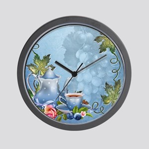 Blue Tea Party Wall Clock