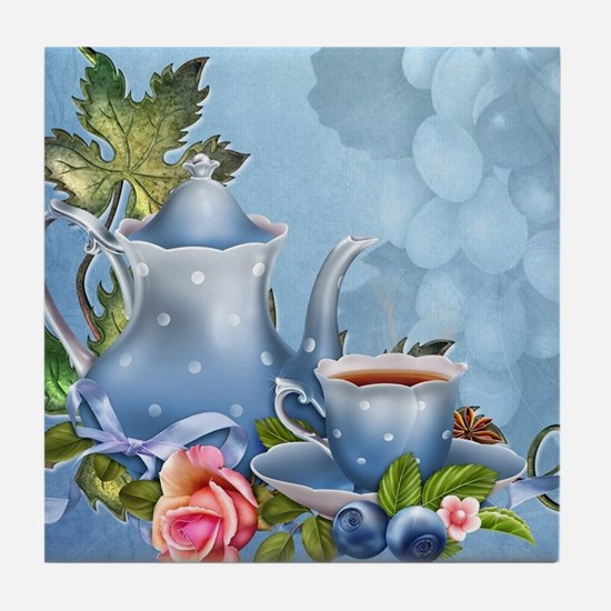 Blue Tea Party Tile Coaster