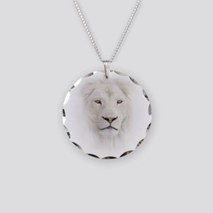 White Lion Head Necklace Circle Charm
