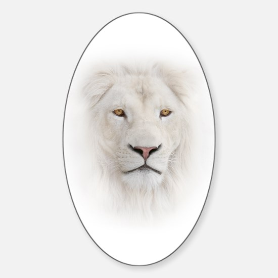 White Lion Head Sticker (Oval)