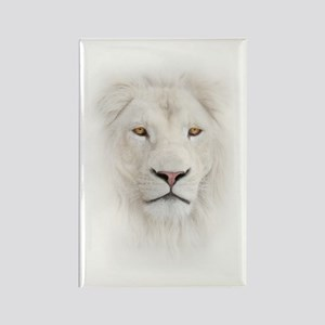White Lion Head Rectangle Magnet