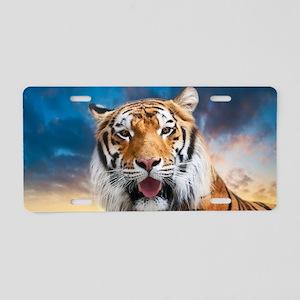 Tiger Sunset Aluminum License Plate