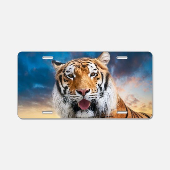 Tiger Sunset Aluminum License Plate