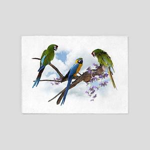 Macaw Parrots 5'x7'Area Rug