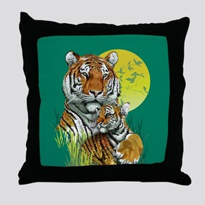 Tiger and Cub Throw Pillow