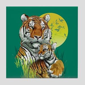 Tiger and Cub Tile Coaster