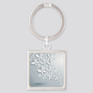 White Popup Butterflies Square Keychain