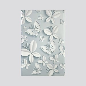 White Popup Butterflies Rectangle Magnet