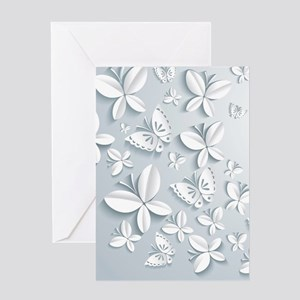 White Popup Butterflies Greeting Card