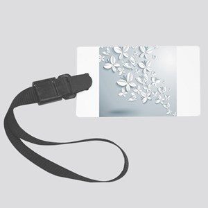White Popup Butterflies Large Luggage Tag