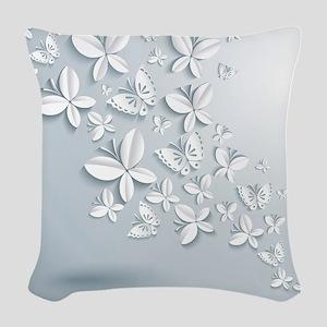 White Popup Butterflies Woven Throw Pillow