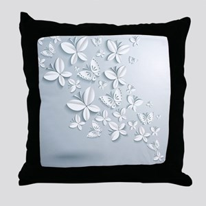 White Popup Butterflies Throw Pillow