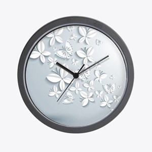 White Popup Butterflies Wall Clock