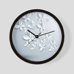 White Popup Butterflies Wall Clock