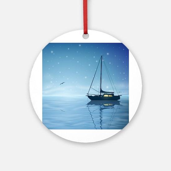 Sailboat Night Round Ornament