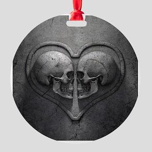 Gothic Skull Heart Round Ornament