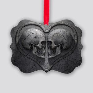 Gothic Skull Heart Picture Ornament