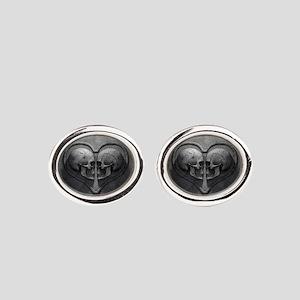 Gothic Skull Heart Oval Cufflinks