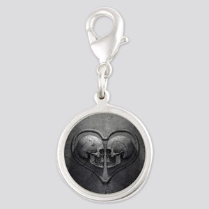 Gothic Skull Heart Silver Round Charm