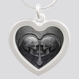 Gothic Skull Heart Silver Heart Necklace