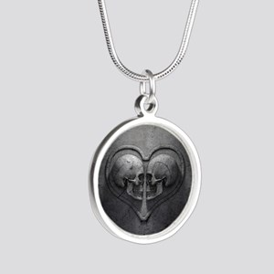 Gothic Skull Heart Silver Round Necklace