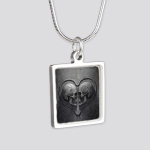 Gothic Skull Heart Silver Square Necklace