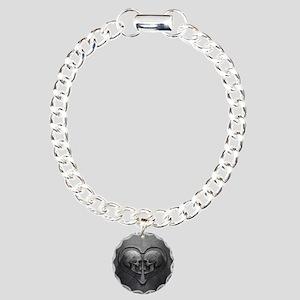 Gothic Skull Heart Charm Bracelet, One Charm