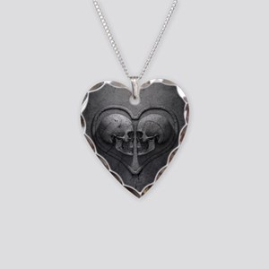 Gothic Skull Heart Necklace Heart Charm