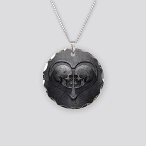 Gothic Skull Heart Necklace Circle Charm