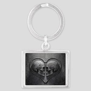 Gothic Skull Heart Landscape Keychain