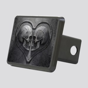 Gothic Skull Heart Rectangular Hitch Cover