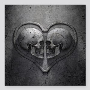"Gothic Skull Heart Square Car Magnet 3"" x 3"""