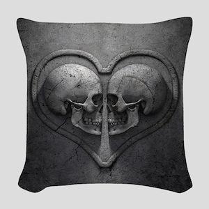Gothic Skull Heart Woven Throw Pillow