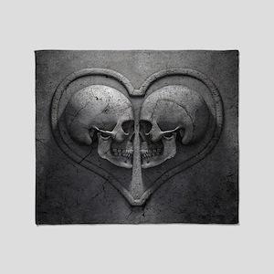 Gothic Skull Heart Throw Blanket