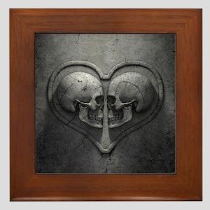 Gothic Skull Heart Framed Tile
