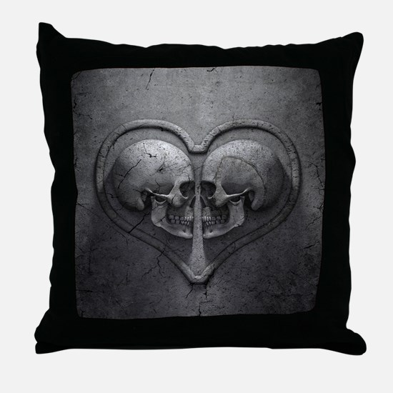 Gothic Skull Heart Throw Pillow