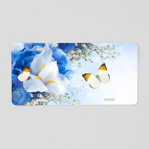 Flowers and Butterflies Aluminum License Plate