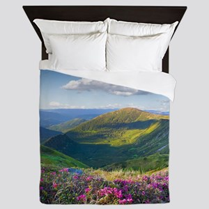 Floral Mountain Landscape Queen Duvet