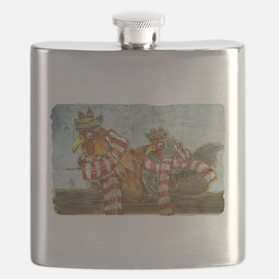 Chickens with Scarves - Laptop Skin Flask