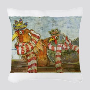 Winter Chickens Woven Throw Pillow
